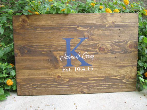 Rustic Hand Painted Pallet Wooden Wedding Guestbook Alternative - Monogram - Wood Guest Book
