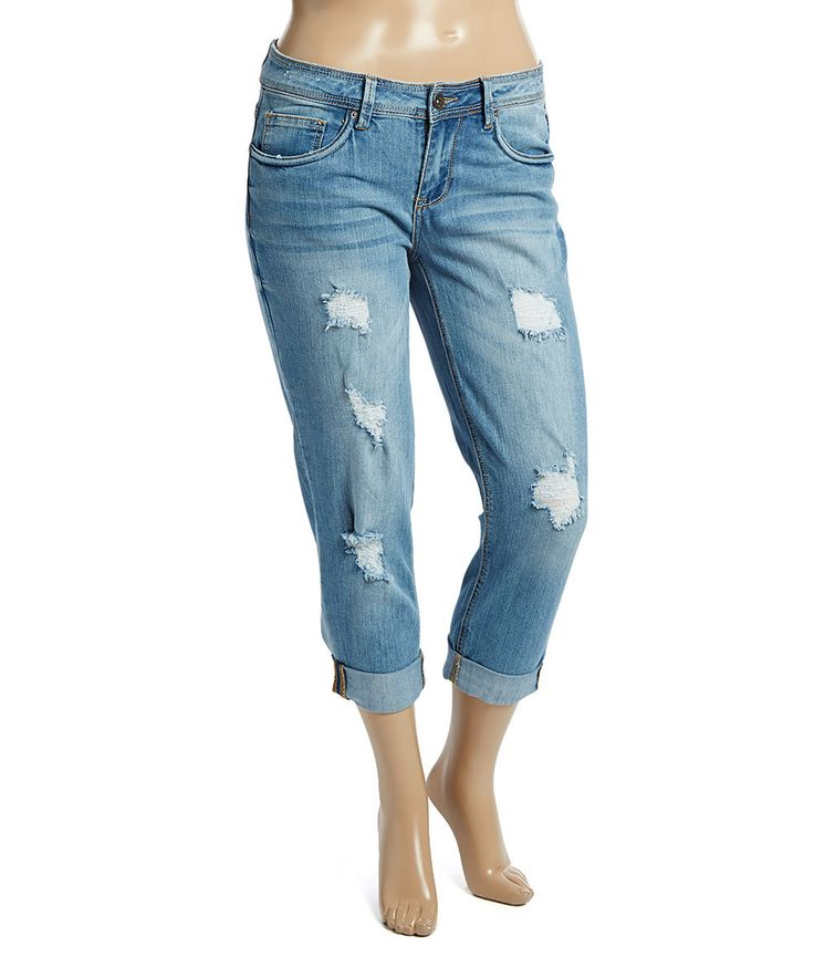Love this Dollhouse Light Wash Distressed Capri Jeans - Plus by Dollhouse on #zulily! #zulilyfinds