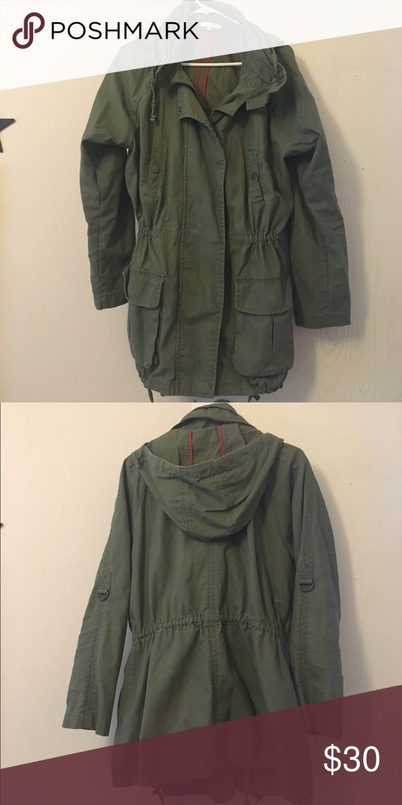 Women's utility jacket size large Women's utility jacket size large. Cinches at the waist. Sleeves can be rolled up. Detachable hood. Brand is Matty M matty m Jackets & Coats Utility Jackets