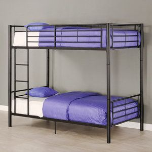 Twin Over Twin Premium Metal Bunk Bed, Black