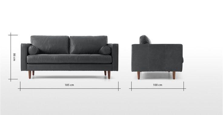 Breites sofa  Scott breites 2-Sitzer Sofa, Premium-Leder in Oxfordgrau