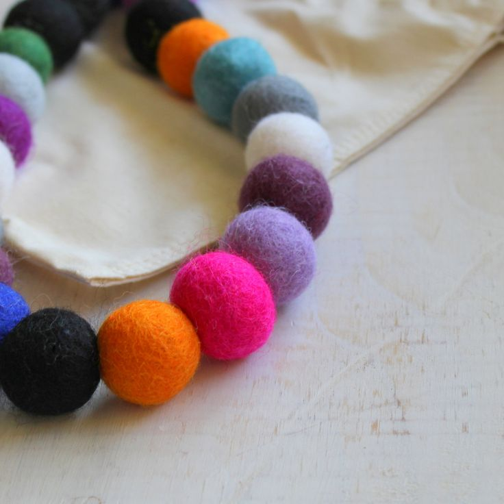 Rainbow Felt Necklace - Large Necklace, Chunky Necklace, Colourful Beads, Long Necklace by earlybirdcreations on Etsy