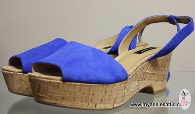 Ann Taylor Shoes, Size 9M Royal Blue Sandal, Wedge Heel 2.75 Inch Heel $42.50