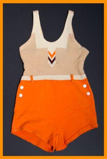 1930s orange Mecox-wool bathing suit.