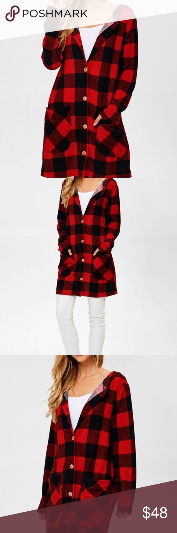 Ladies Red & Black Buffalo Plaid Hoodie Cardigan Ladies buffalo plaid button-up sweater hoodie cardigan with front pockets Makes a great layering piece! 94% Polyester 6% Spandex Hailey & Co Jackets & Coats