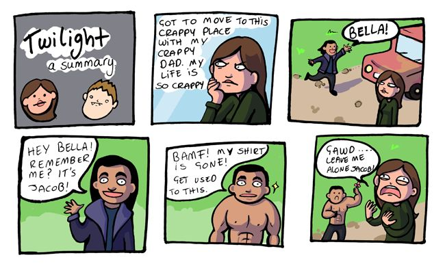 You must see all of this.  Click the link.  Twilight summary in comic strip form.