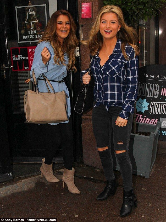 Every girl's dream! Friends Zara Holland (right) and Gemma Oaten (left) arrive for a night of pamper at the Muse salon in London on Wednesday