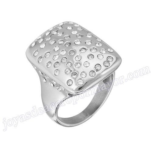 Material: Acero Inoxidable   Nombre:Anillo de  plata de acero con diamantes de moda 2013   Model No.:SSRG119   Peso:9.2G