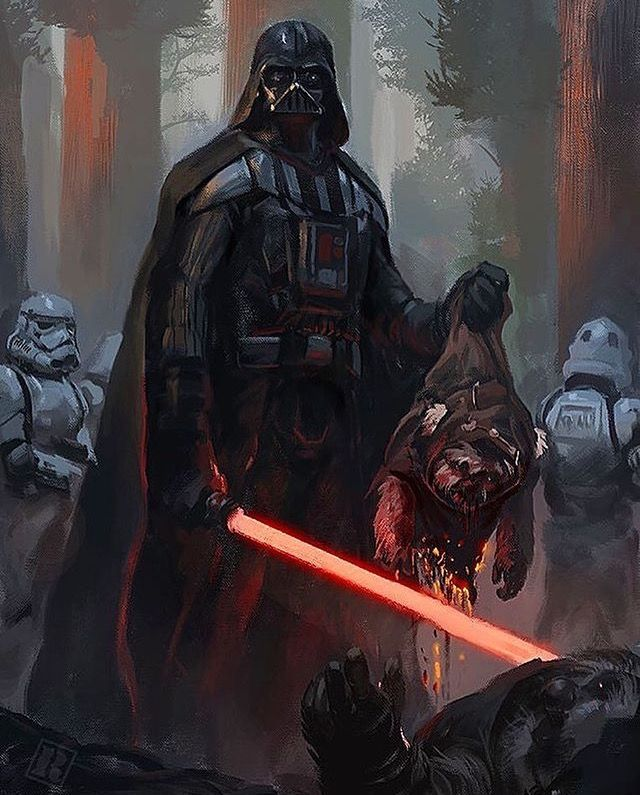 Concept: IF Darth Vader had lead the interception of the Endor Strike Team. The shield would never fall, Leia, Han and Chewbacca would have been captured and Luke would be brought to the Emperor without Vader's guidance. One choice and many things change...
