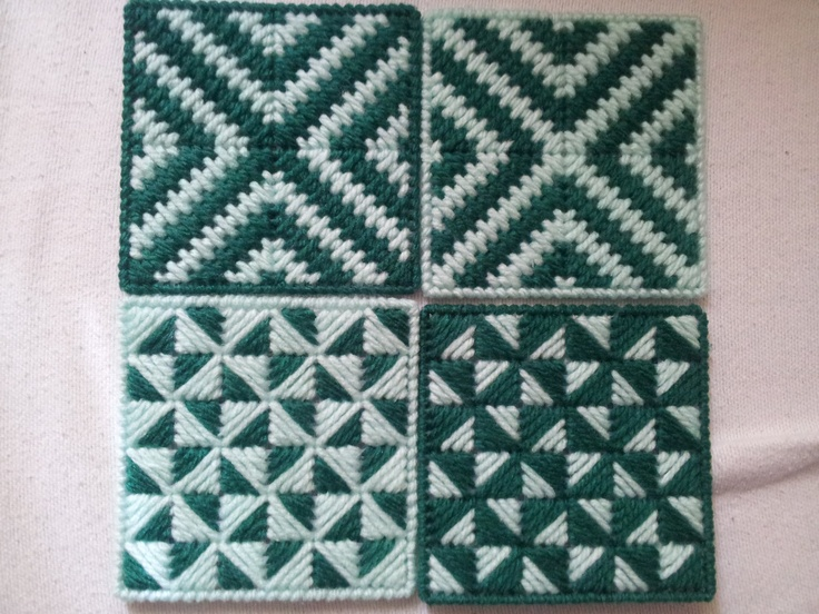 set of four plastic canvas coasters in greens. $10.00, via Etsy.
