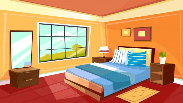 Cartoon Bedroom Interior Background Template Cozy Modern House Room In Morning Light Free Vector Bedroom Interior Modern Bedroom Interior House Rooms