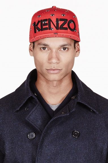 $60.00 Kenzo Red And Black All Over Eyes Cap http://www.variied.com/products/kenzo-red-black-eyes-cap/ #kenzo #cap #hat #redcap #eyes #style