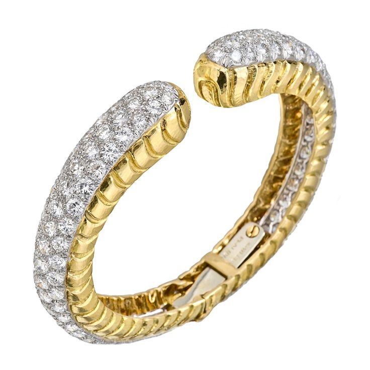Estate+David+Webb+Pavé+Diamond+Hinged+Cuff+Bracelet