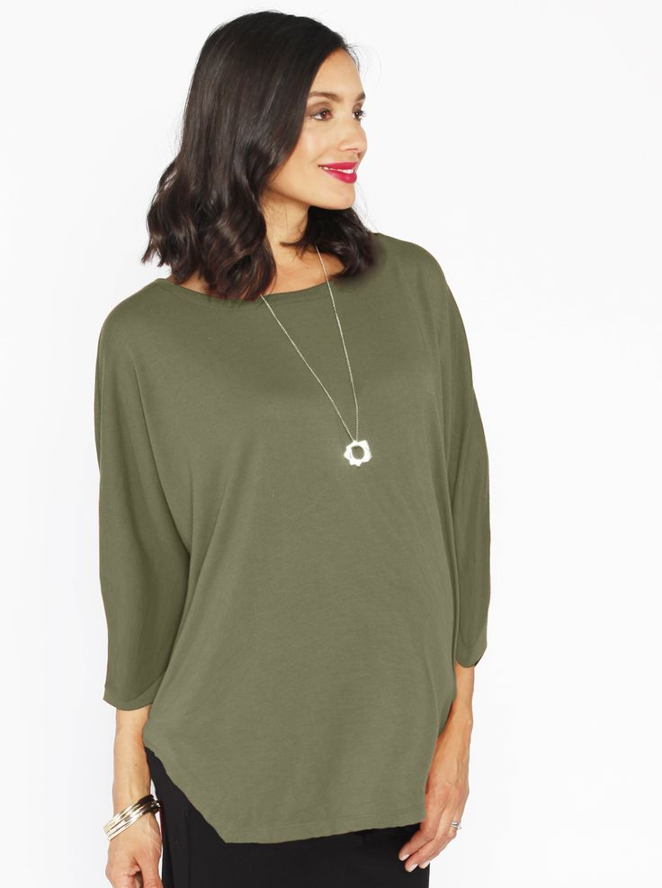 Loose Fit Top in 3/4 Sleeve, Khaki, $44.95, is a must-have maternity top for any fashionista! Team it with black pants for a special occasion, or wear it with jeans for a relaxed vibe.
