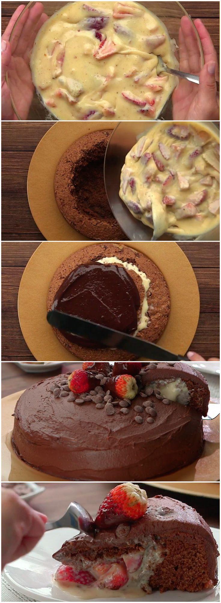 BOLO DE CHOCOLATE COM RECHEIO DE MORANGO (veja a receita passo a passo) #bolo #bolodechocolatecommorango #chocolate #morango