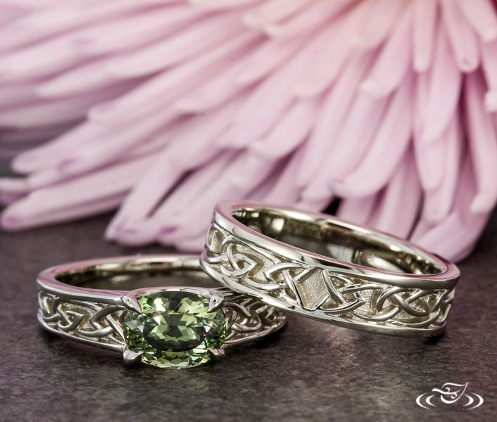 Celtic Engagement Ring and Band Duo #GreenLakeJewelry