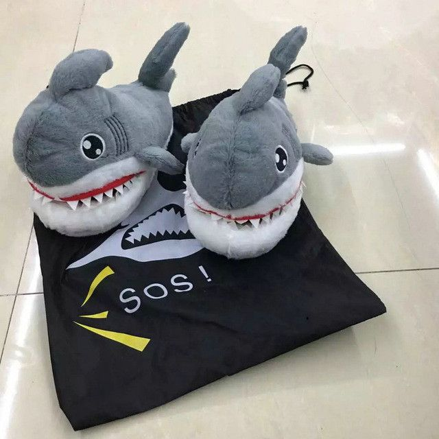 Plush Sharks Slippers. One Size Fits All!