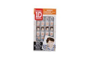 "1 Direction Stick-On Nails - Louis by The Wish Factory. $5.11. Includes 20 flat One Direction nails. Easy on, Easy off. Collect all 5 nail packs!. Each nail features pictures of the band or One Direction logos and art. Each package features one 1D band member. One Direction is the #1 band in the World! With their hit songs ""You Don't Know You're Beautiful,""One Thing"" and ""Live While We're Young,"" Liam, Niall, Harry, Louis and Zayn are breaking records and hear..."