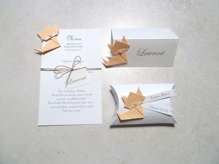 Boîte à dragées berlingot coussin + chat en origami papier jaune à pois - cadeau de remerciement invités  anniversaire, baptême, mariage