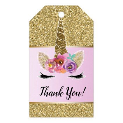 Gold Glitter Glam Unicorn Floral Pink Party Favor Gift Tags - baby birthday sweet gift idea special customize personalize