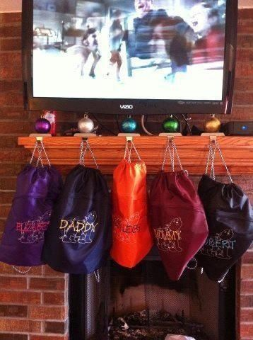 Love this idea....use the Thirty-One Cinch Sacs instead of stockings to make sure Santa has enough room for all the goodies!