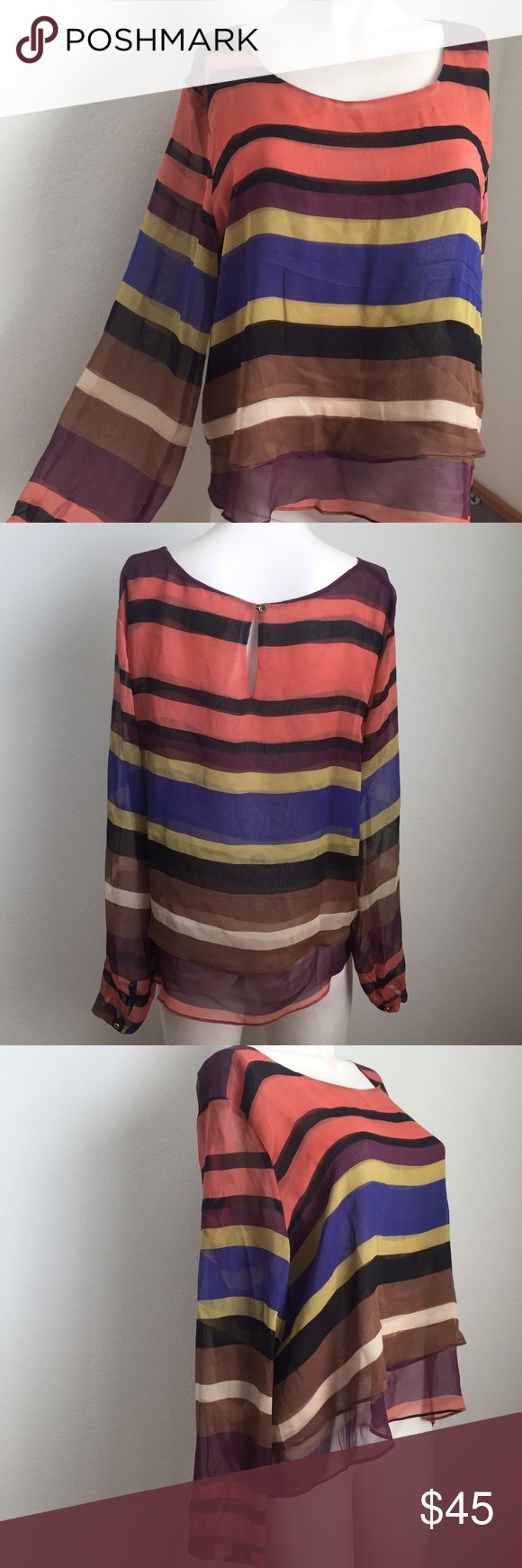 Anthropologie sheer colorful striped top Gorgeous sheer colorful striped top by Maeve from Anthropologie. Button closure on back. Second layer of fabric in the front. Adds a pop of color to your outfit! Pair with a chunky gold necklace, distressed denim, and chunky boots! Anthropologie Tops