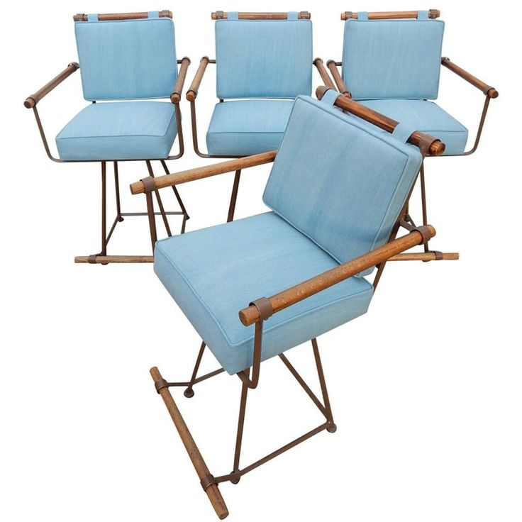 Midcentury California Modern Cleo Baldon Style Iron and Wood Bar Stools | From a unique collection of antique and modern stools at https://www.1stdibs.com/furniture/seating/stools/