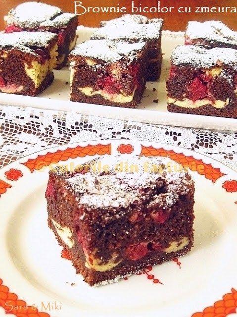 » Brownie bicolor cu zmeuraCulorile din Farfurie
