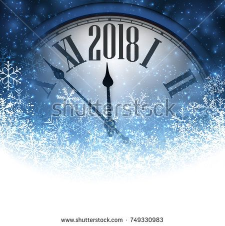 Blue 2018 New Year background with clock and snow. Vector illustration.