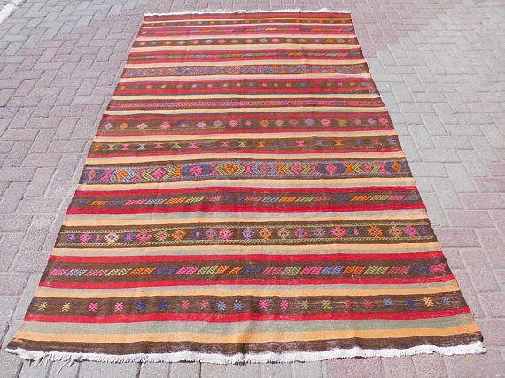Anatolian kilim rug striped turkish kilim rug area rug