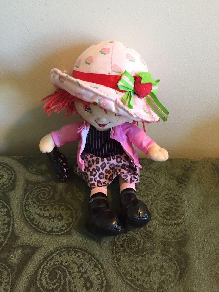 Strawberry Shortcake Doll Plush Toy 2005 Pink Leopard Spot Skirt Hat Purse #Kellytoy