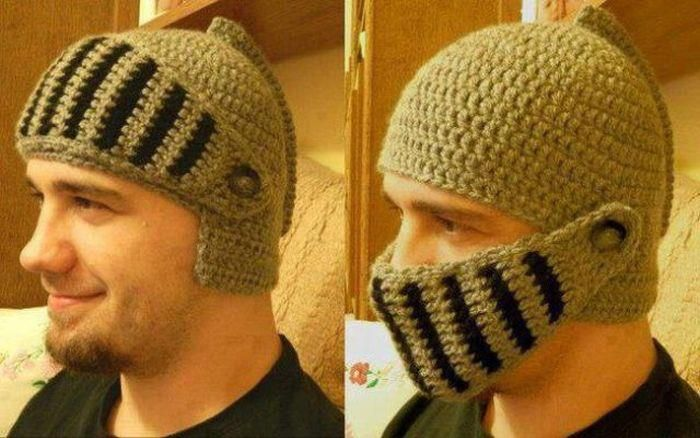 Knitting Pattern Knight Hat : knitted knight helmet beanie - wow!! Medieval Banquet Fundraiser Ideas Pi...