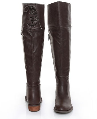 GC Shoes Kim Brown Lace-Up Back OTK Riding Boots...My barbie had these when I was little!!!!
