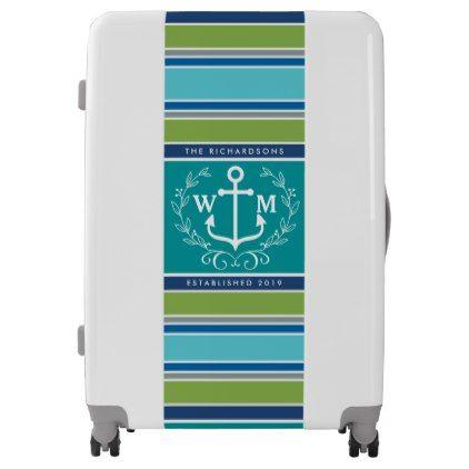 #wedding - #Wedding Monogram Anchor Laurel Wreath Aqua Stripes Luggage