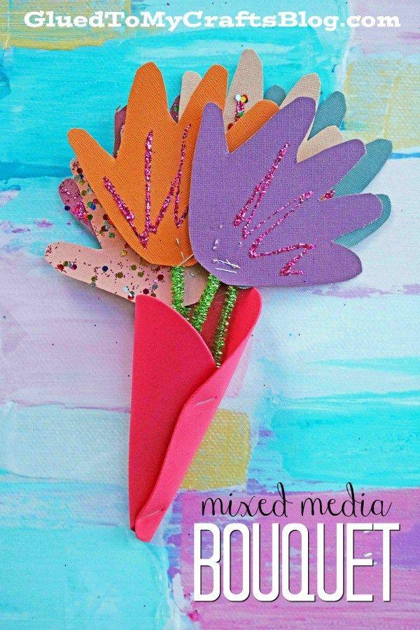 Mixed Media Handprint Bouquet - Valentine's Day Kid Craft Idea #valentinesday #kidcrafts #gluedtomycrafts #flower #handprintkeepsake