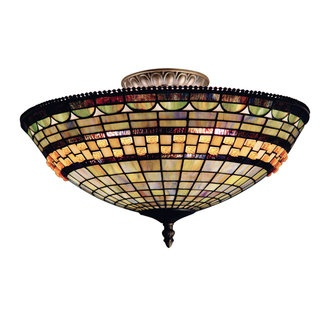 Landmark Lighting 934 Tiffany Three Light Down Semi Flush Ceiling Fixture From The Jewelstone Collection