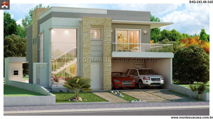 Planta de Sobrado - 4 Quartos - 243.46m² - Monte Sua Casa