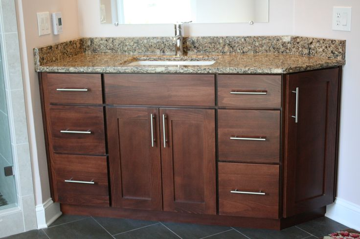 Koch Classic Cabinetry Savannah Door Style Beech Wood Brandy Stain Master Bathrooms In