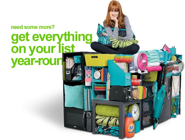 Target's college dorm items and lists