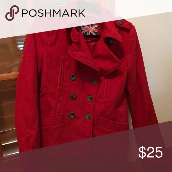 Red pea coat No trades Jackets & Coats Pea Coats