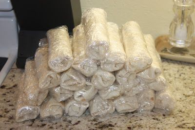 Breakfast Burritos... Can Freeze and take out one at a time, microwave, for a quick breakfast on the go.