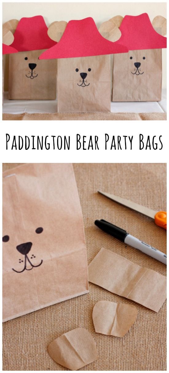 Paddington Bear Party Goodie Bags for a Paddington Bear Birthday Party. Simple, easy party decor! Don't forget to watch the Paddington movie on January 16, 2015! Thanks for sharing these creative ideas, @makeandtakes!