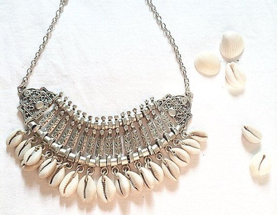 Cowrie Shell bib necklace with Aztec printed Beads.
