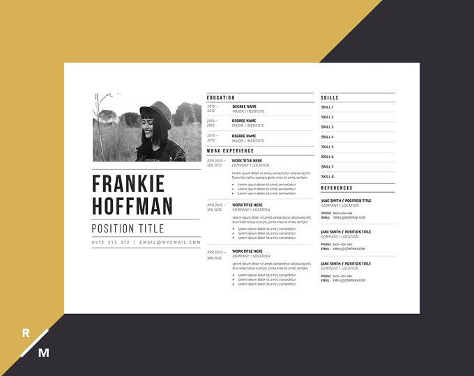 Creative Resume Template Horizontal Landscape Modern Professional Resume Simple Resume Digital Download Graphic Design Resume Creative Resume Templates Creative Resume
