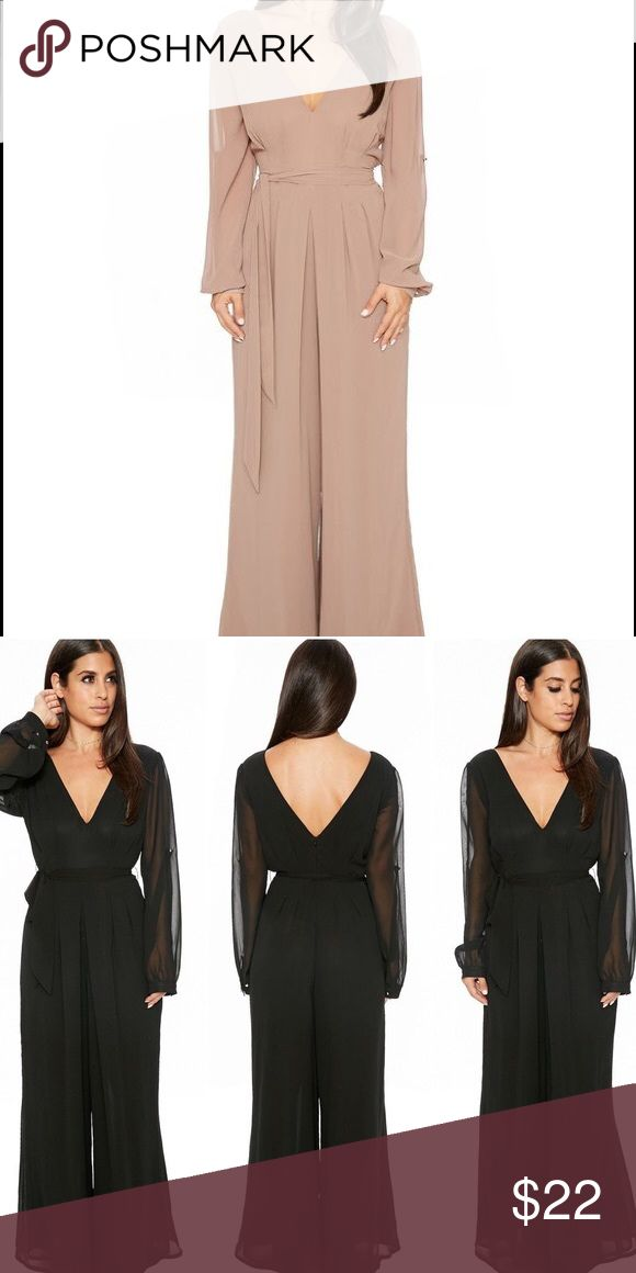 The One & Only Jumpsuit - Mocha Never worn, no tags, have black version of this in the same size which was too big. NAKED WARDROBE  Color: Mocha. Size MEDIUM. 100% Polyester. V Neckline front and back with gold button detailing in cuffs. Features Double lining from top to bottom. New with no tags. Naked Wardrobe Pants Jumpsuits & Rompers