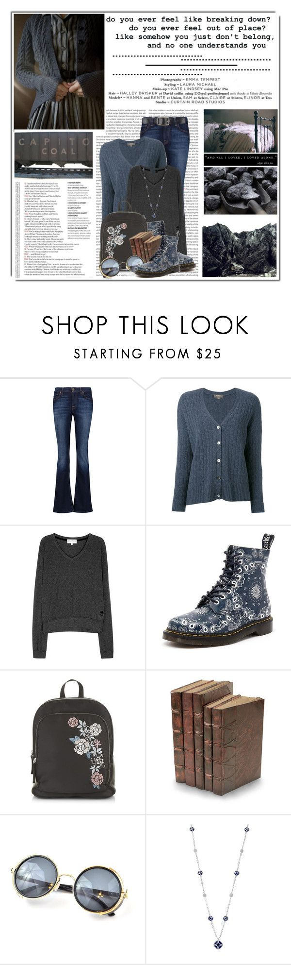 """""""Untitled #10923"""" by queenrachietemplateaddict ❤ liked on Polyvore featuring Oris, 7 For All Mankind, N.Peal, Wildfox, Dr. Martens, New Look, Decorative Leather Books, Chaps and Belstaff"""