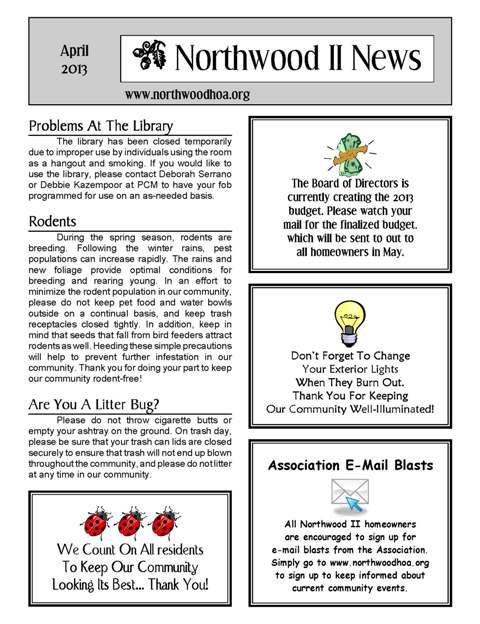 free april newsletter template - april 2013 northwood ii nwii hoa community association