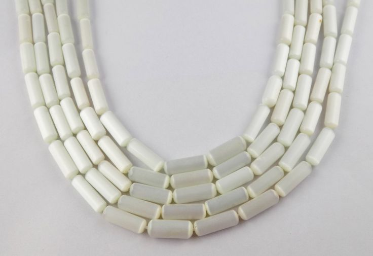 "5 Strands White Colour Monalisa Cat's Eye Loose Beads Approx 5x16mm-6x15mm Tube Shape Beads 15"" Long Strand by UGCHONGKONG on Etsy"