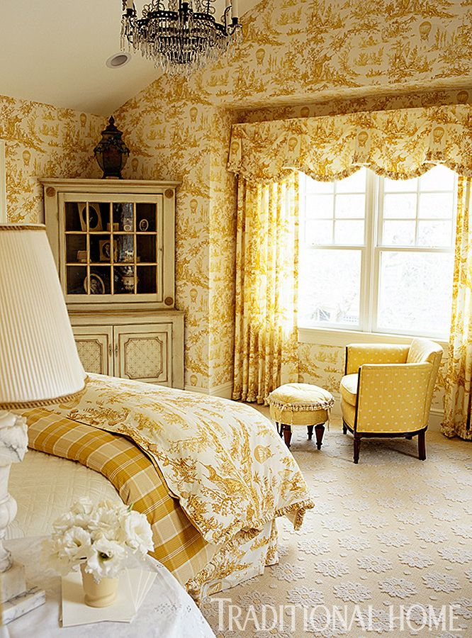 A bedroom that manifests in abundant mustard yellow toile. Simply stunning...