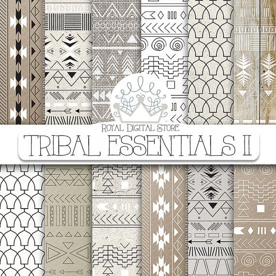 """Aztec digital paper: """"TRIBAL ESSENTIALS II"""" with aztec, tribal pattern, background on neutral colors, earth shades, grey, beige"""